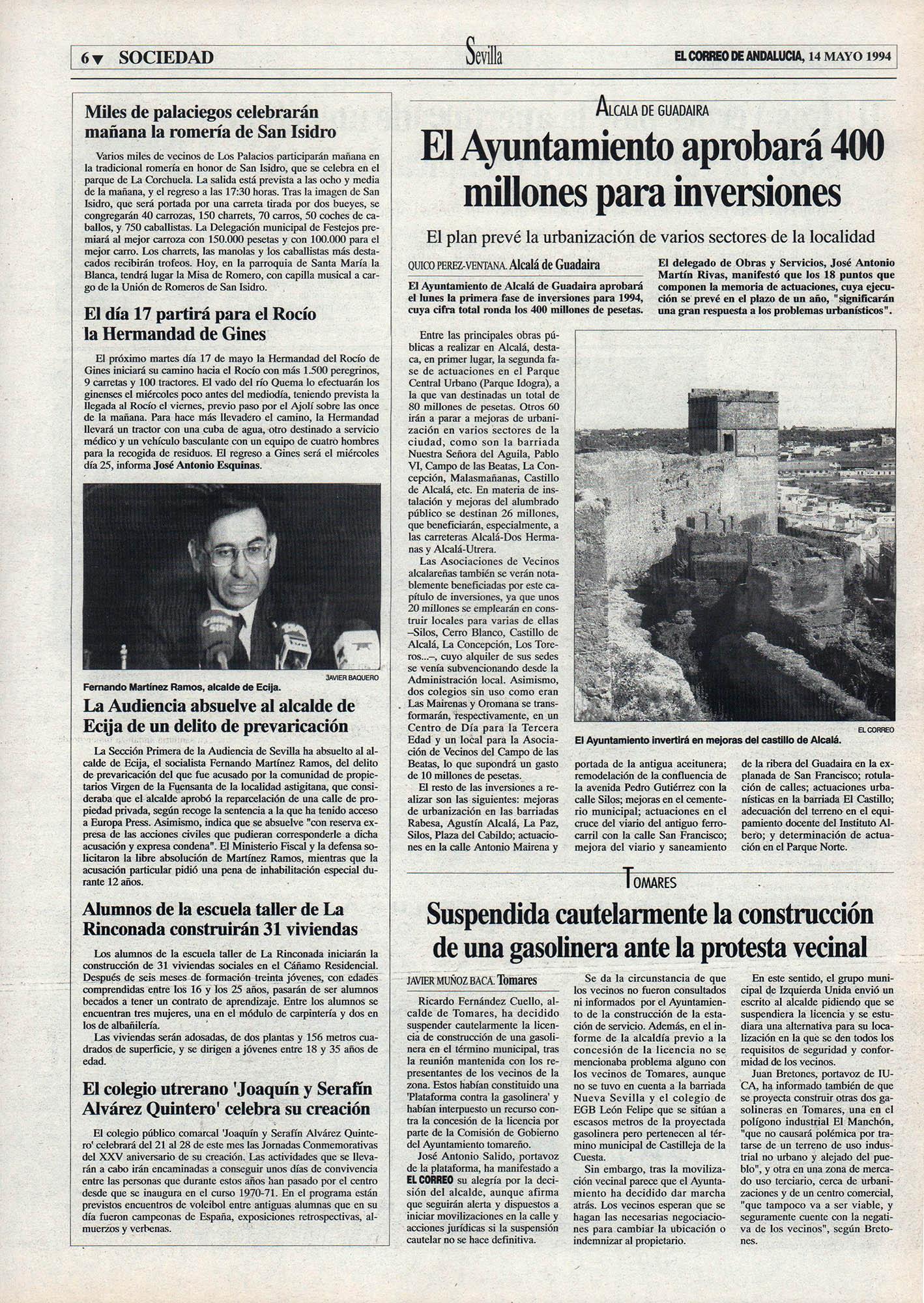Alcalá de Guadaíra / El Ayuntamiento aprobará 400 millones para inversiones   El Correo de Andalucía   14 may 1994