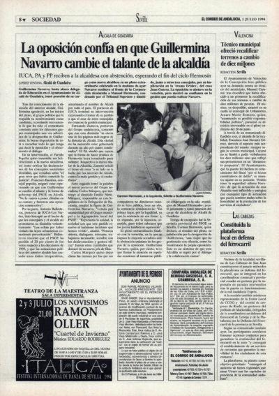 Alcalá de Guadaíra / La oposición confía en que Guillermina Navarro cambie el talante de la alcaldía   El Correo de Andalucía   1 jul 1994