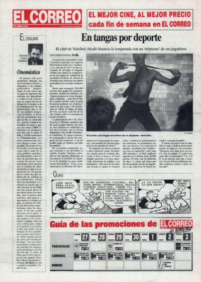 Alcalá de Guadaíra / En tangas por deporte – Striptease del Club de Voleibol Alcalá | El Correo de Andalucía | 15 oct 1995