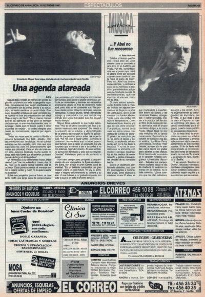 Crónica / Miguel Bosé: y Abel no fue rencoroso – Auditorio de Sevilla | El Correo de Andalucía | 10 oct 1993