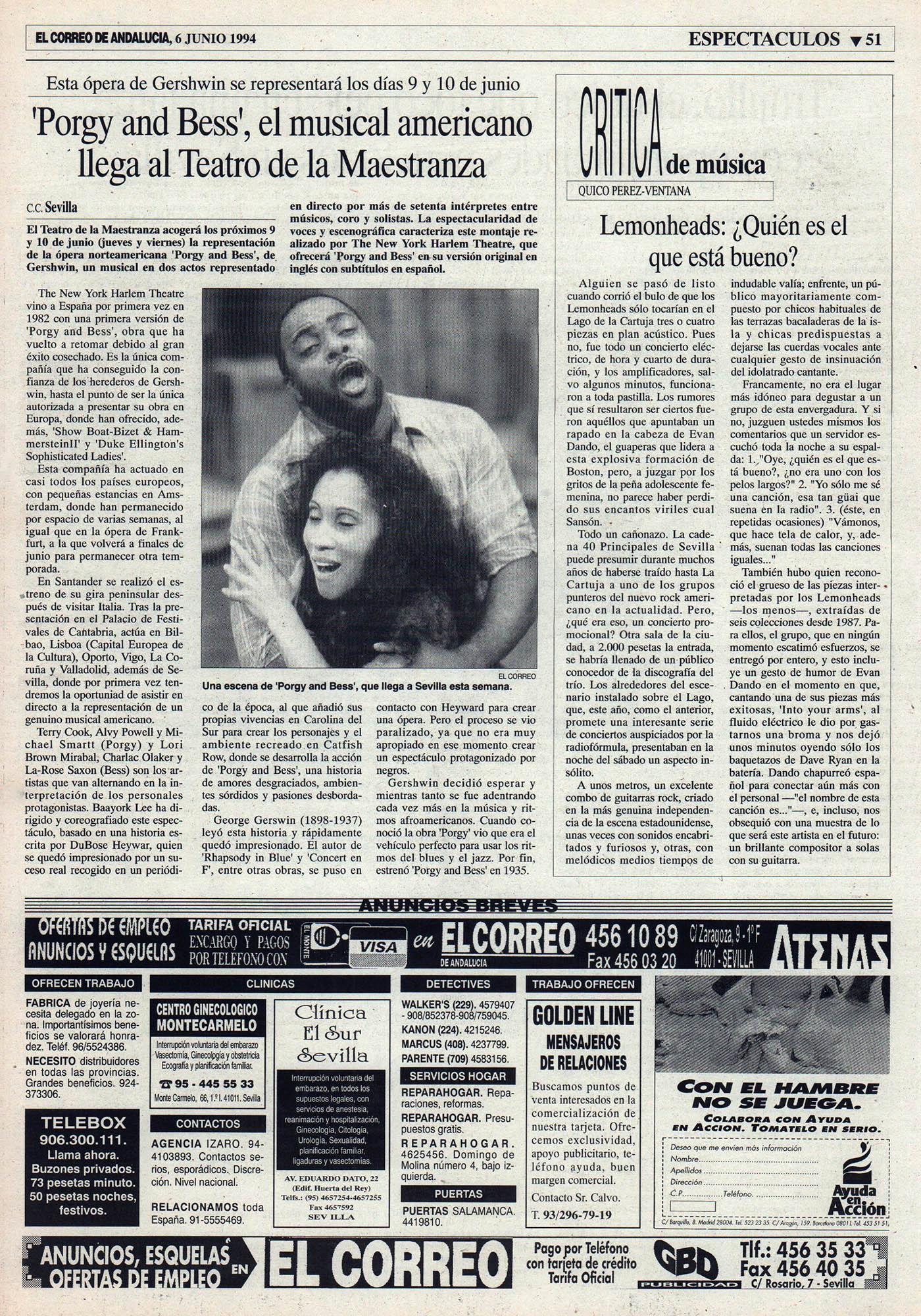 Crónica / Lemenheads, ¿quién es el que está bueno? - Lago de la Cartuja, Sevilla | El Correo de Andalucía | 6 jun 1994