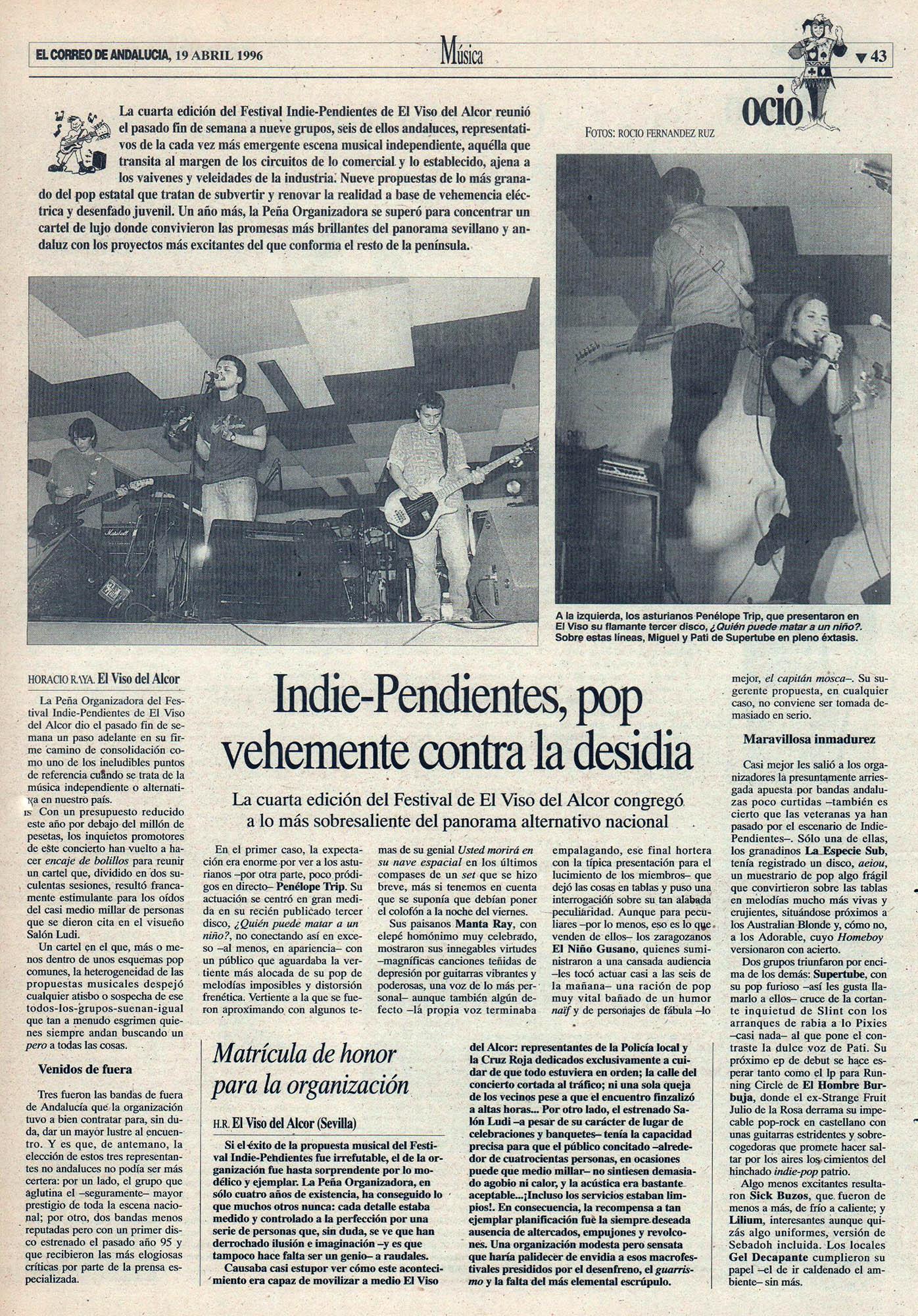 Crónica / Indie-Pendientes: pop vehemente contra la desidia - Festival El Viso del Alcor | El Correo de Andalucía | 19 abr 1996