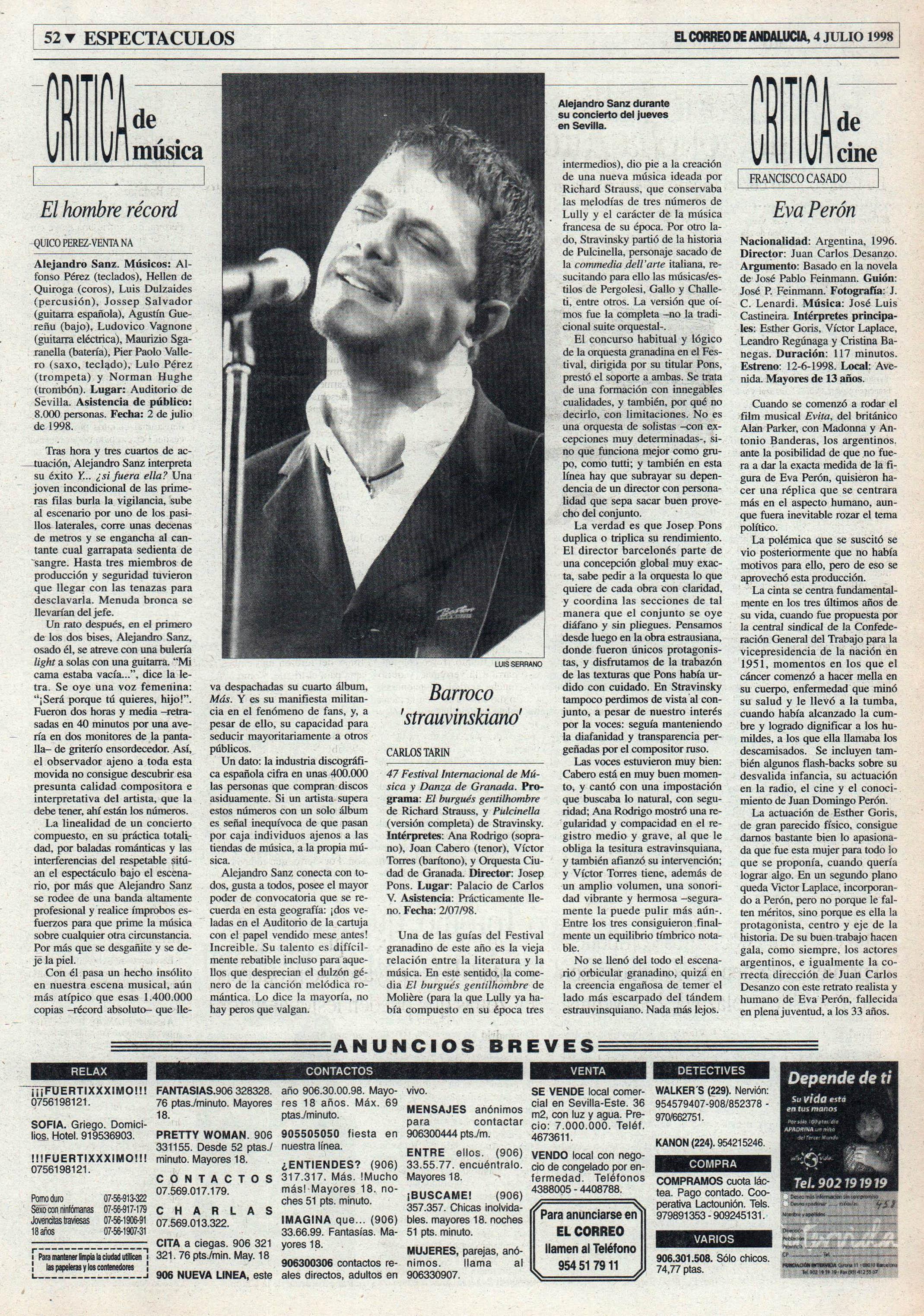 Crónica / Alejandro Sanz: el hombre récord – Auditorio de Sevilla | El Correo de Andalucía | 4 jul 1998