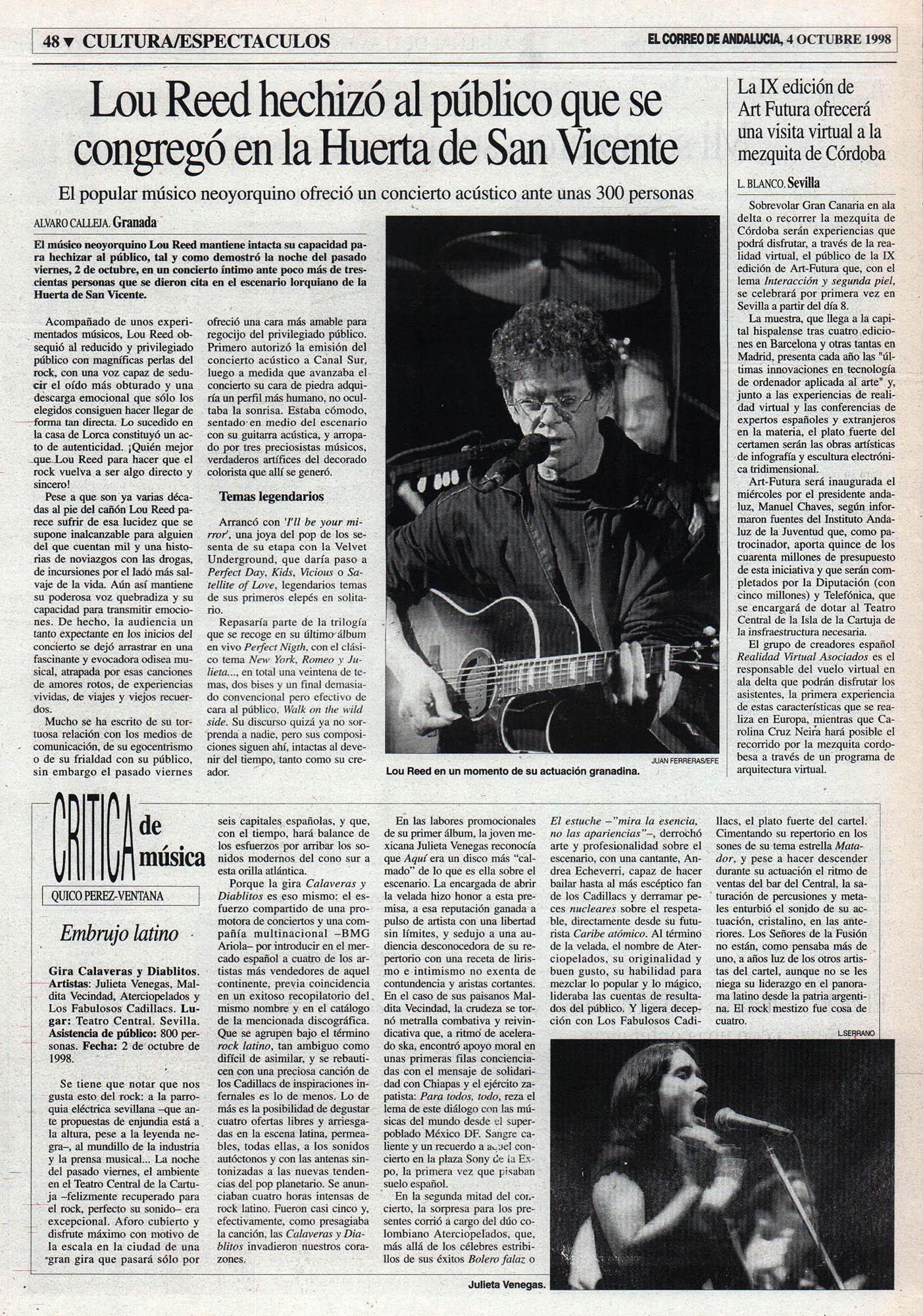 Crónica / Calaveras y diablitos: embrujo latino – Fabulosos Cadillacs, Aterciopelados, Julieta Venegas – Teatro Central, Sevilla | El Correo de Andalucía | 4 oct 1998