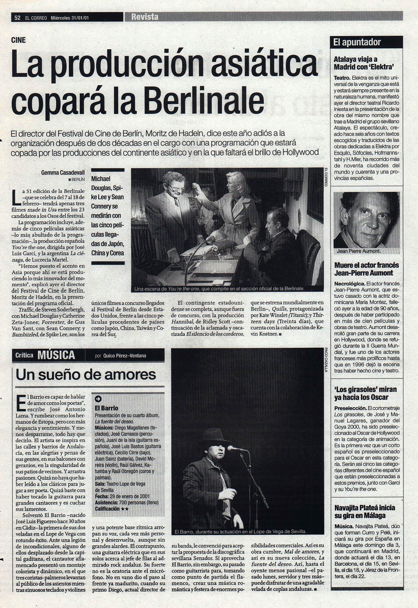 Crónica / El Barrio: un sueño de amores – Teatro Lope de Vega, Sevilla | El Correo de Andalucía | 31 ene 2001