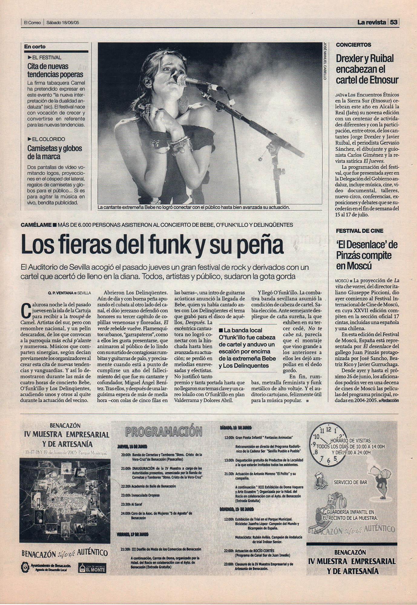 Crítica / Ofunkillo, Bebe, Delinqüentes: los fieras del funk y su peña – Auditorio de Sevilla | El Correo de Andalucía | 18 jun 2005