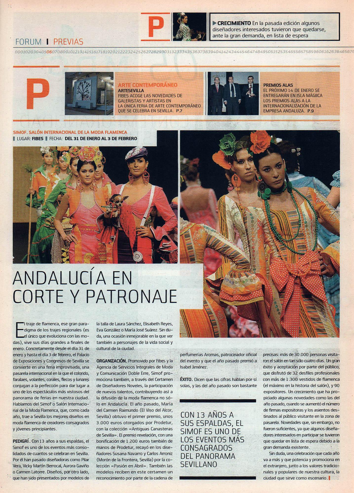 Andalucia, en corte y patronaje - Simof, Salón Internacional de la Moda Flamenca | Fórum - ABC de Sevilla | ene 2008