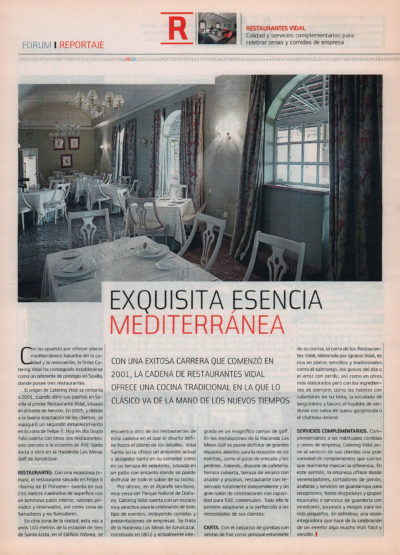 Restaurantes Vidal: exquisita esencia mediterránea | Fórum – ABC de Sevilla | may 2008