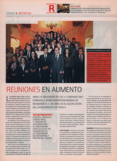 Spain Convention Bureau – Reuniones en aumento | Fórum – ABC de Sevilla | may 2008