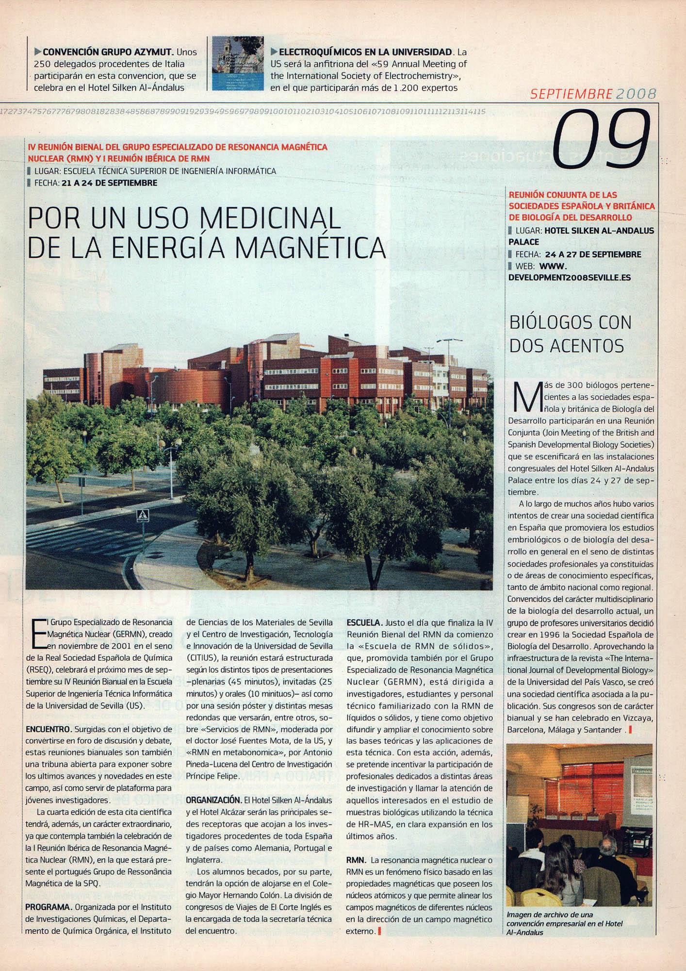 Por un uso medicinal de la energía magnética - Reunión Bienal del Grupo Especializado de Resonancia Magnética Nuclear | Fórum - ABC de Sevilla | sep 2008