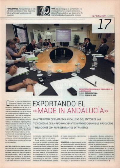 Exportando el «made in Andalucia» – Encuentro Internacional de Tecnologías de la Información   Fórum – ABC de Sevilla   sep 2008