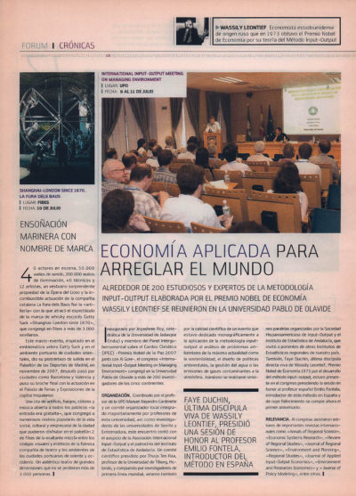 International Input-Output Meeting of Managing Environment – Economía aplicada para arreglar el mundo | Fórum – ABC de Sevilla | sep 2008