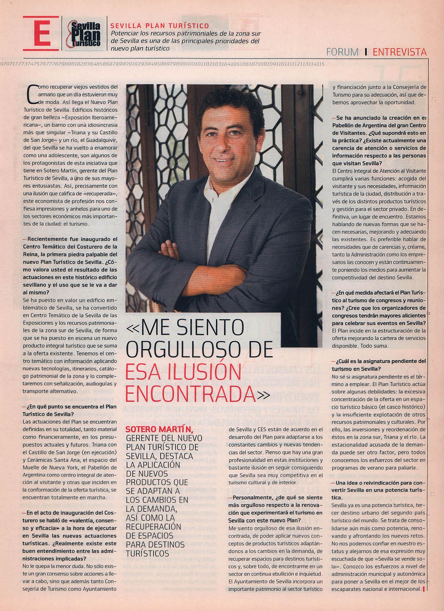 Sotero Martín - Gerente Plan Turístico Sevilla | Fórum - Suplemento ABC de Sevilla | sep 2008