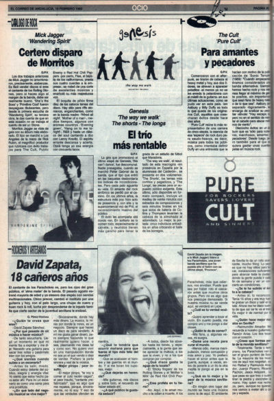 Cuestionario: David Zapata – Parachokes | Mick Jagger – Wandering spirit | Genesis – The way we walk | The Cult – Pure Cult | El Correo de Andalucía | 19 feb 1993