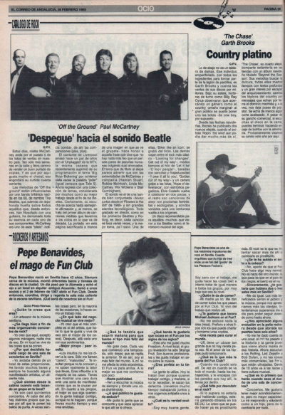 Cuestionario: Pepe Benavides – Fun Club | Paul McCartney – Off the ground | El Correo de Andalucía | 26 feb 1993