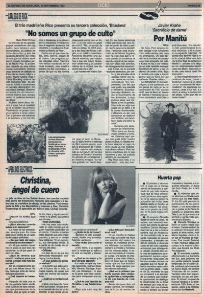 Rico: «No somos un grupo de culto» – Blusiana | Cuestionario: Christina Rosenvinge, ángel de cuero | Javier Krahe – Sacrificio de dama | El Correo de Andalucía | 10 sep 1993