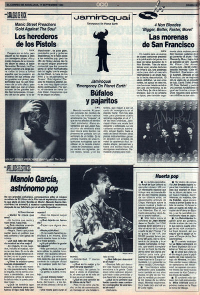 Cuestionario: Manolo García, astrónomo pop | Manic Street Preachers – Gold against the soul | Jamiroquai – Emergency on planet Earth | Four Non Blondes – Bigger better | El Correo de Andalucía | 17 sep 1993