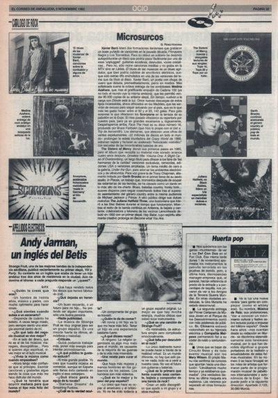 Cuestionario: Andy Jarman, un inglés del Betis – Strange Fruit | El Correo de Andalucía | 5 nov 1993