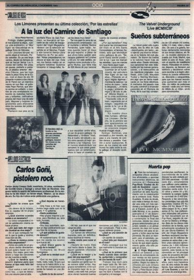 Los Limones: a la luz del Camino de Santiago – Por las estrellas | Cuestionario: Carlos Goñi, pistolero rock – Revólver | El Correo de Andalucía | 3 dic 1993