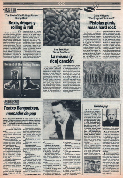 Cuestionario: Txetxo Bengoetxea, mercader pop – 21 Japonesas | The Rolling Stones – Jump back | Los Sencillos – Seres positivos | Guns & Roses – The Spaguetti incident | El Correo de Andalucía | 28 ene 1994