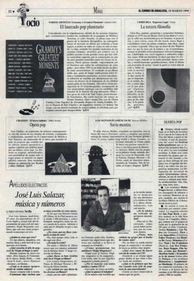 Cuestionario: José Luis Salazar, Virgin Megastore Sevilla | Chris Rea – Espresso logic  | El Correo de Andalucía | 18 mar 1994