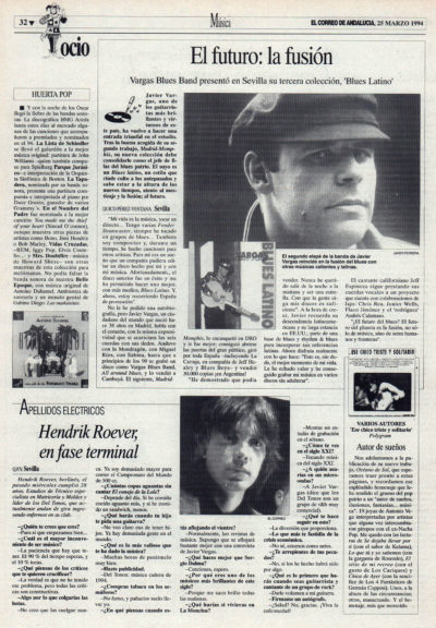 Vargas Blues Band: el futuro, la fusión – Blues latino | Cuestionario: Hendrik Roever, en fase terminal – Los Del Tonos  | El Correo de Andalucía | 25 mar 1994