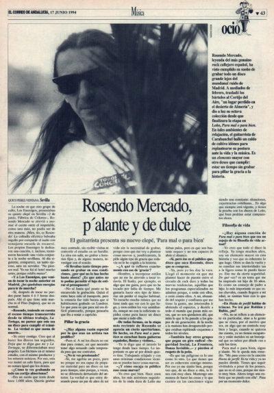 Rosendo Mercado, p'alante y de dulce – Para mal o para bien | El Correo de Andalucía | 17 jun 1994