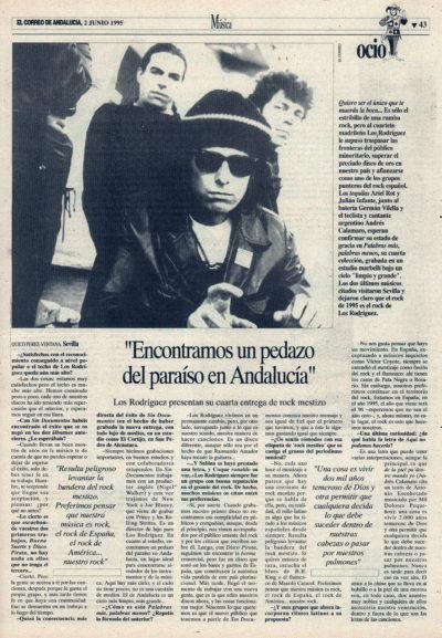 Los Rodríguez: «Encontramos un pedazo del paraíso en Andalucía» – Palabras más palabras menos, Andrés Calamaro | El Correo de Andalucía | 2 jun 1995