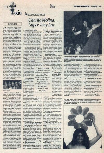 Apellidos eléctricos: Charlie Molina, Super Tony Luz | El Correo de Andalucía | 9 feb 1996
