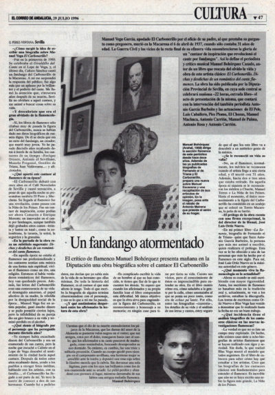 Un fandango atormentado – Biografía de El Carbonerillo, Manuel Bohórquez | El Correo de Andalucía | 29 jul 1996