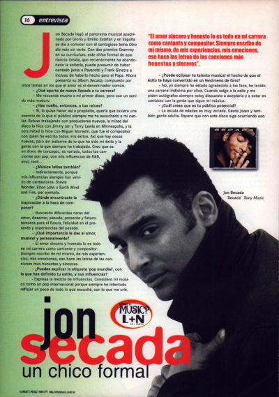 Jon Secada, un chico formal – Secada | Whats Music | may 1997