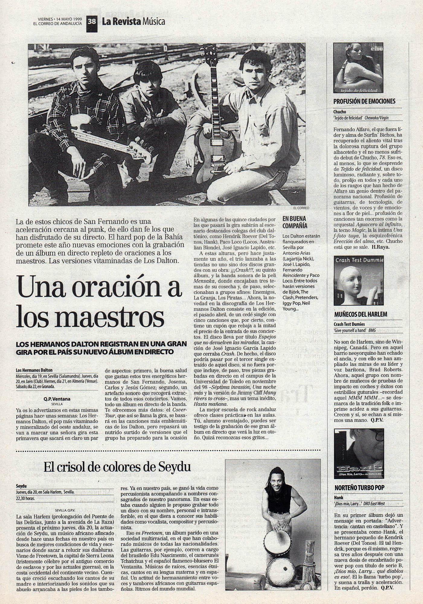 Los Hermanos Dalton, una oración a los maestros – Espejos que no devuelven las miradas | El crisol de colores de Seydu | El Correo de Andalucía | 14 may 1999