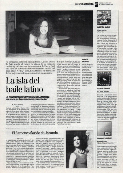 Rosa Méndez, la isla del baile latino – Dale caña | El Correo de Andalucía | 9 jul 1999