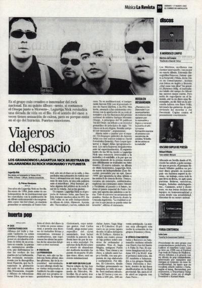 Lagartija Nick, viajeros del espacio | El Correo de Andalucía | 17 mar 2000