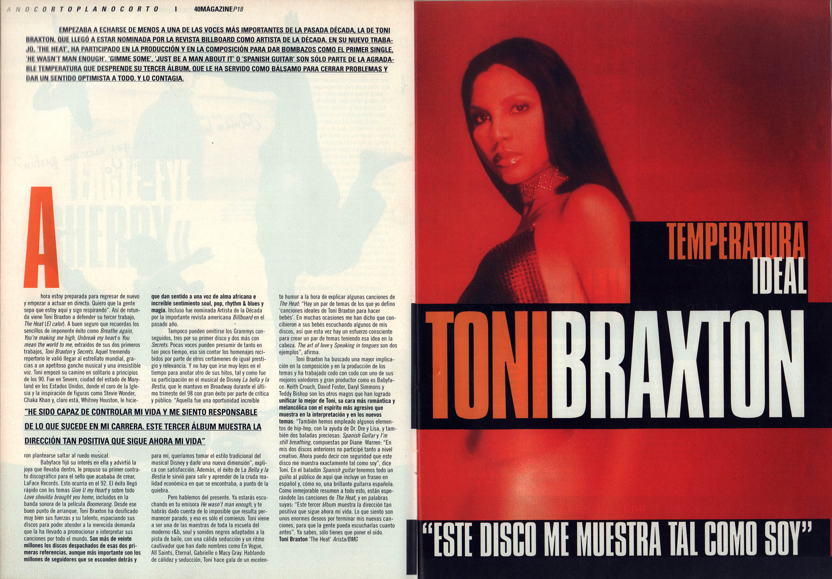 Toni Braxton: temperatura ideal - The heat | 40 Magazine | may 2000
