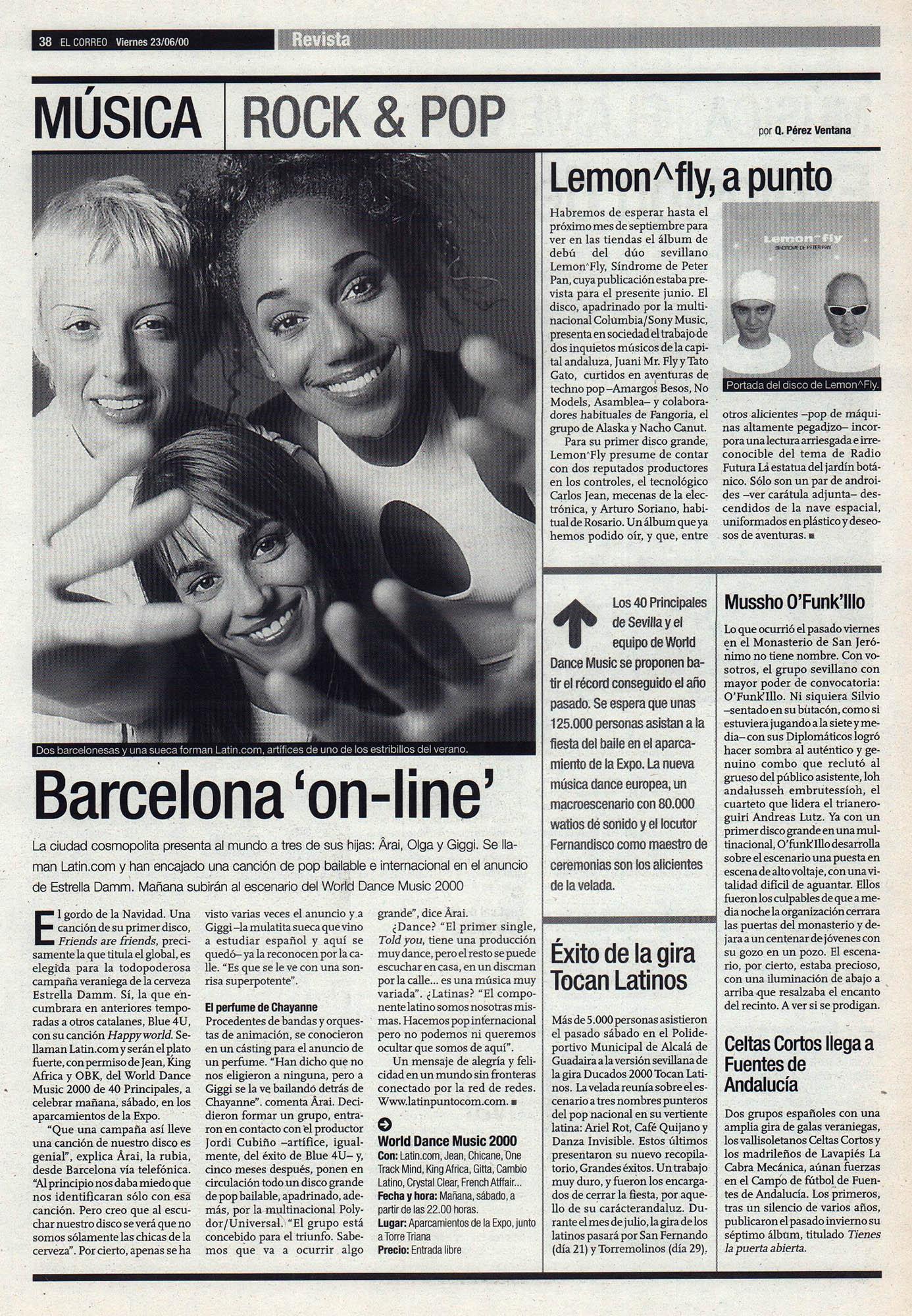 Latin.com: Barcelona online | El Correo de Andalucía | 23 jun 2000