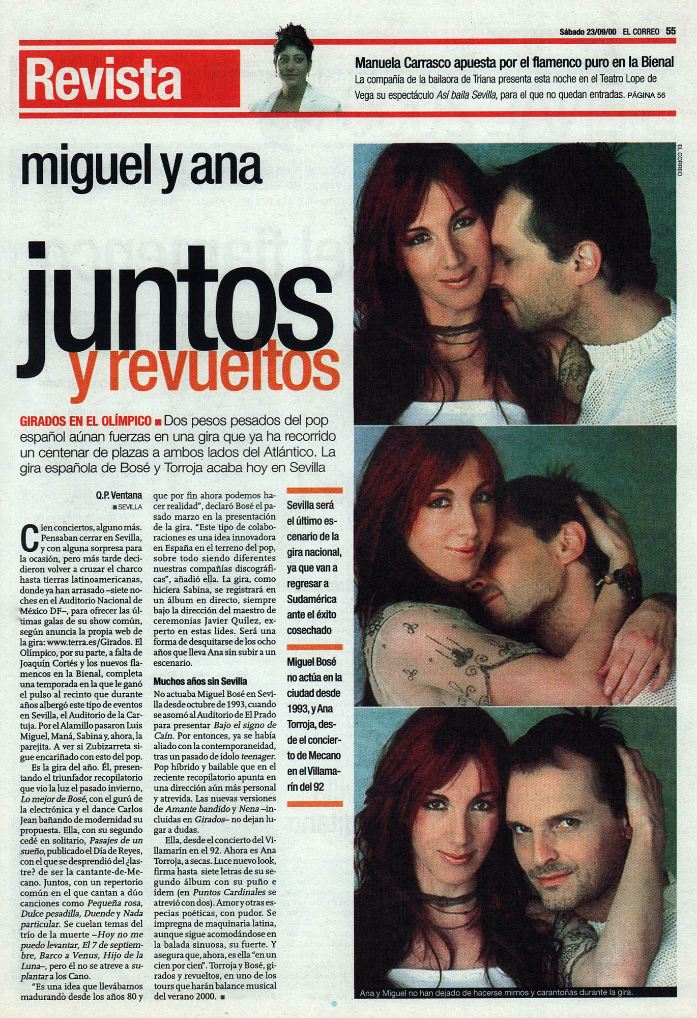 Miguel Bosé y Ana Torroja: juntos y revueltos - Girados | El Correo de Andalucía | 23 sep 2000