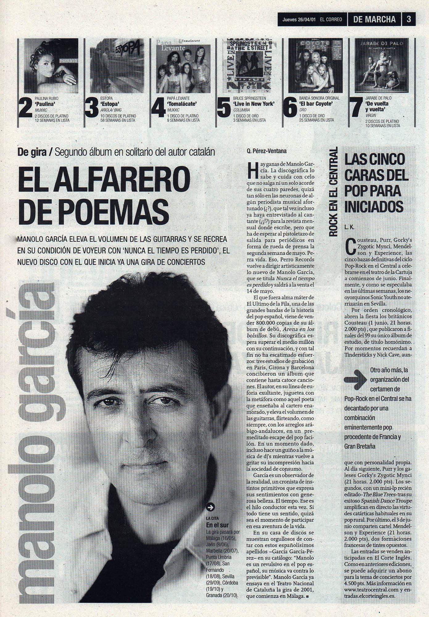 Manolo García, el alfarero de poemas | De Marcha - El Correo | 26 abr 2001