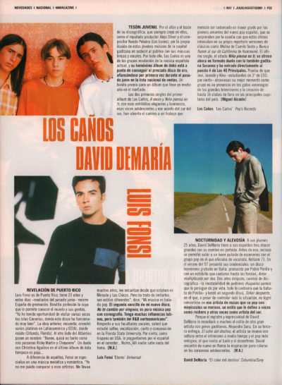 Luis Fonsi – Eterno | David DeMaría – El color del destino | Los Caños | 40 Magazine | jul 2001