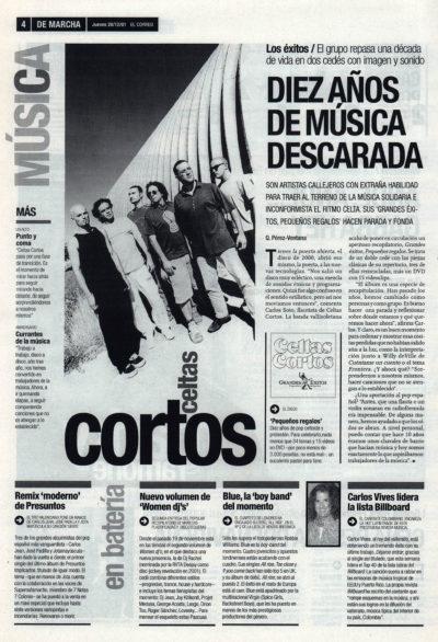 Celtas cortos: diez años de música descarada – Pequeños regalos | De Marcha – El Correo | 20 dic 2001