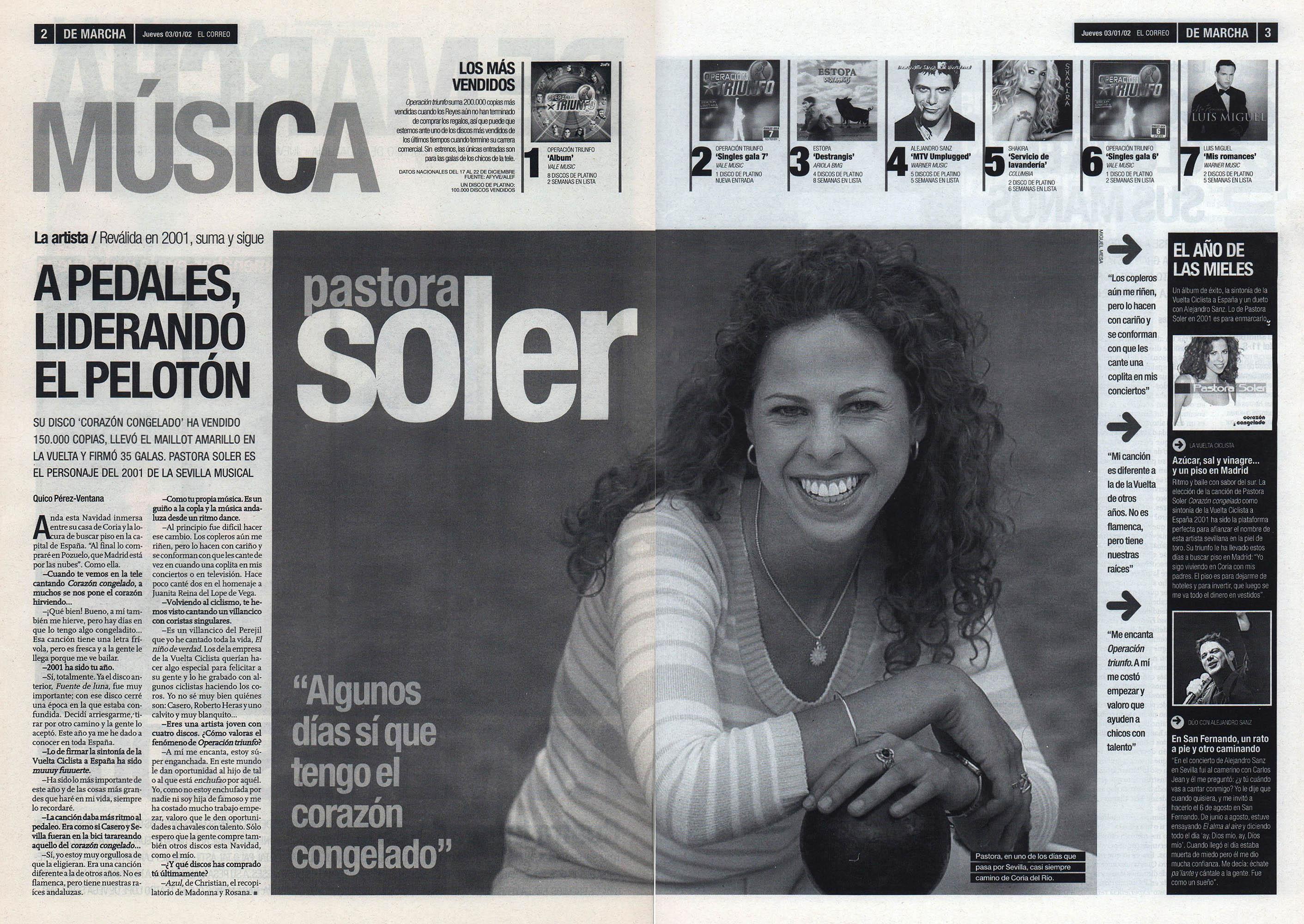 Pastora Soler: a pedales, liderando el pelotón - Corazón congelado   De Marcha - El Correo   3 ene 2002