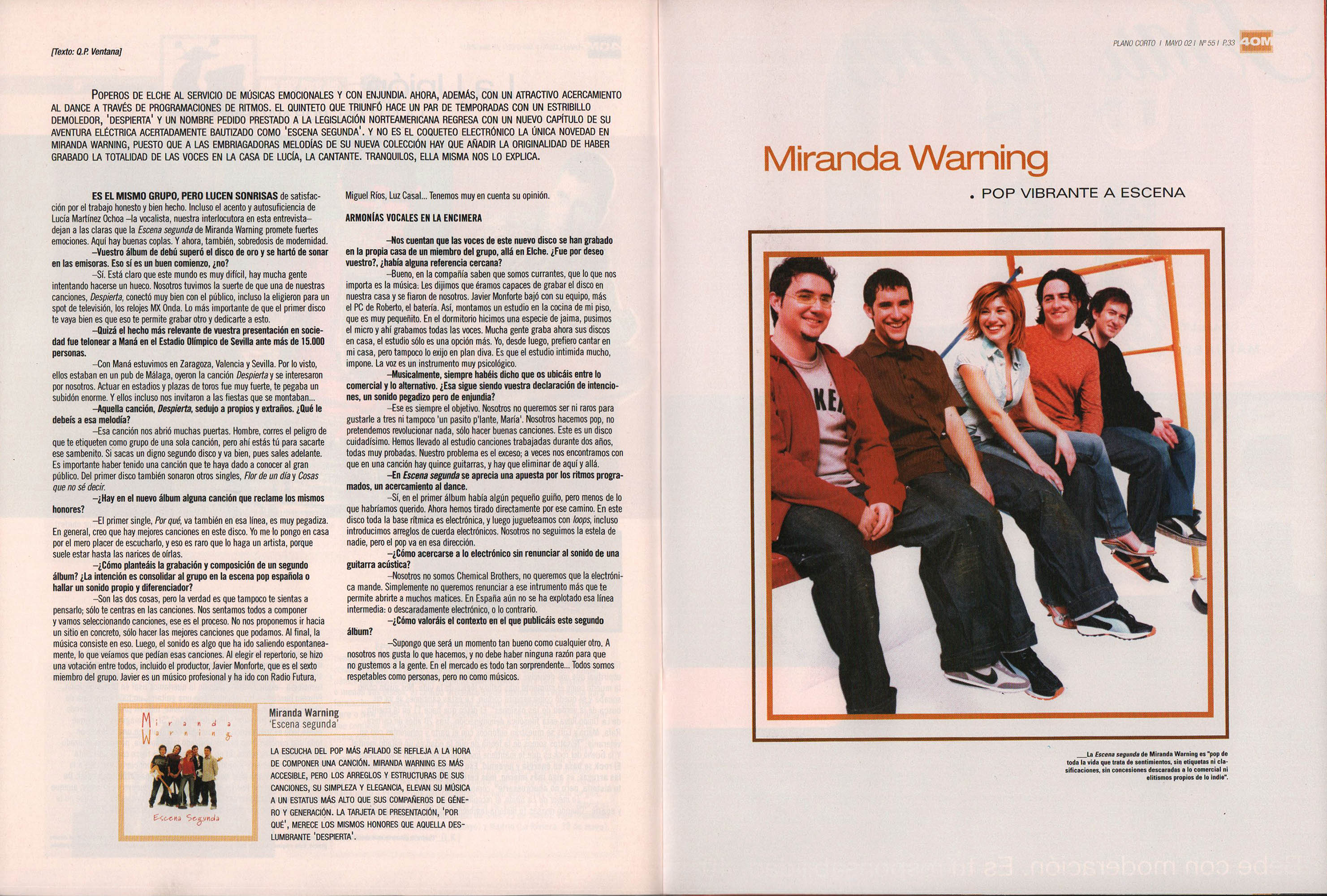 Miranda Warning, pop vibrante a escena - Escena segunda | 40 Magazine | may 2002