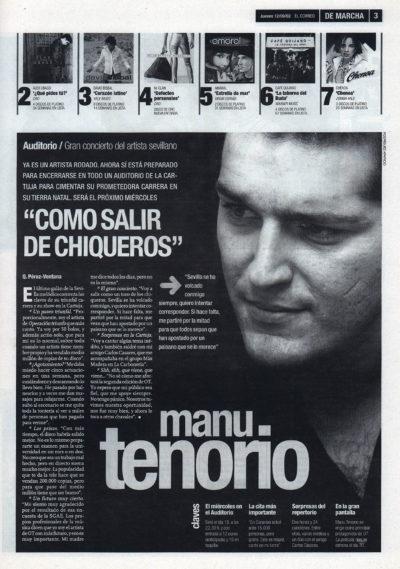 Manu Tenorio, como salir de chiqueros – Concierto Auditorio Sevilla | De Marcha – El Correo | 12 sep 2002
