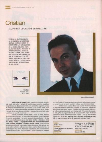 Cristian Castro: cuando llueven estrellas – Grandes hits | 40 Magazine | nov 2002