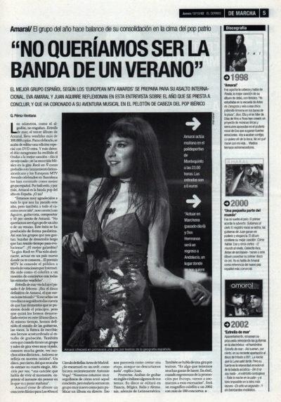 Amaral: «No queríamos ser la banda de un verano» – Estrella de mar | De Marcha – El Correo | 12 dic 2002