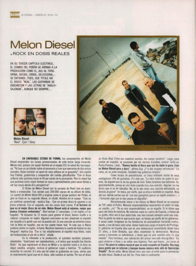 Melon Diesel: rock en dosis reales – Real | 40 Magazine | feb 2003