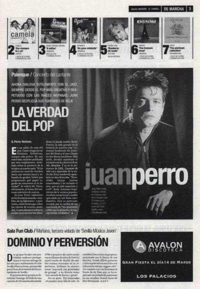 Juan Perro: la verdad del pop – Cantares de vela | De Marcha – El Correo | 6 mar 2003