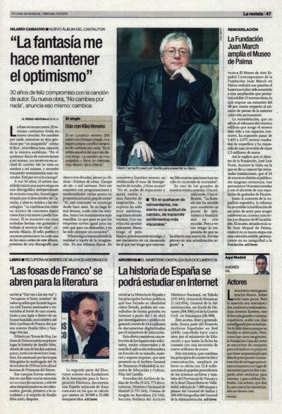 Hilario Camacho: «La fantasía me hace mantener el optimismo» – No cambies por nada | El Correo de Andalucía | 19 mar 2003