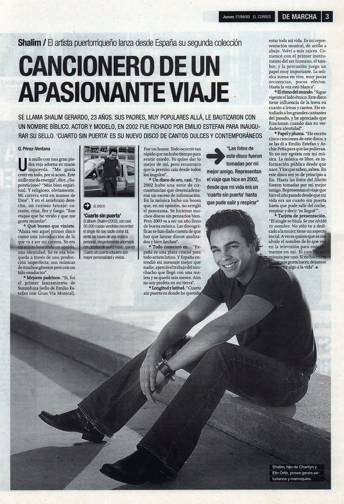 Shalim: cancionero de un apasionante viaje - Cuarto sin puerta | De Marcha - El Correo | 17 abr 2003