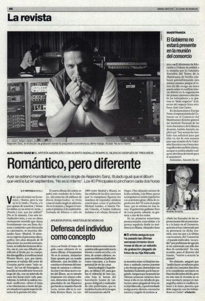 Alejandro Sanz: romántico, pero diferente – No es lo mismo | El Correo de Andalucía | 29 jul 2003